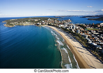 Aerial view of beachfront buildings and ocean in Sydney, Australia.