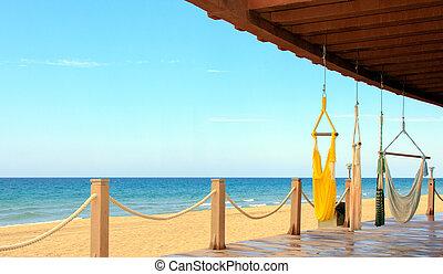 beachfront, tranqüilidade, mexico., relaxation., lugar, mar, cortez, vista