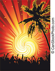 Beachparty Funky Sun - Flyer or poster for your beach party.