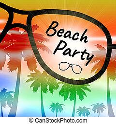 beachparty, vertritt, spaß, feiertag, strand, parteien