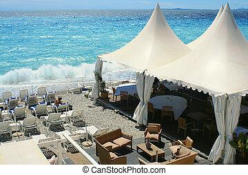 beachside restaurant - restaurant on the shore of a Nice,...