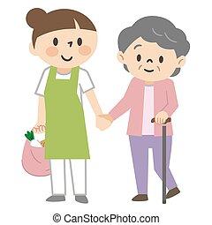 beachten, ältere frau, caregiver, shoppen