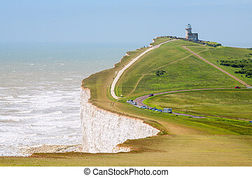Beachy Head. East Sussex, England, UK - Chalk cliff at...