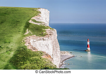 Beachy Head Lighthouse with chalk cliffs near the Eastbourne, East Sussex, England