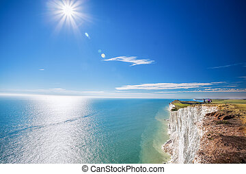 Beachy Head with chalk cliffs near the Eastbourne, East...