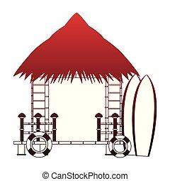 Beack kiosk stand red lines - Beack kiosk stand vector...