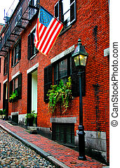 Beacon Hill is a fascinating, early 19th century neighborhood with narrow streets. The row houses are nearly all in brick in Federal, Victorian and Georgian styles. This National Historic District is exceptionally well-preserved, with well maintained houses, low-traffic streets paved with ...