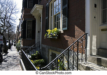 View of houses in the city center in Boston