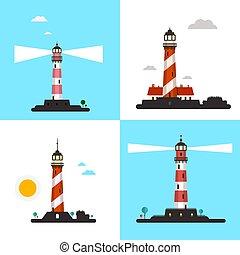 Beacon Icons - Vector Lighthouse Symbols Set