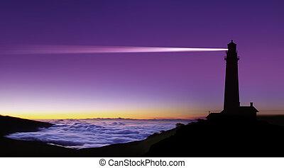 Lighthouse searchlight beam through foggy air