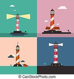 Beacon on Sea Landscape. Lighthouse Vector Flat Design Illustrations Set.