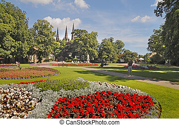 Beacon Park in Lichfield, Staffordshire is an attractive area near the cathedral.