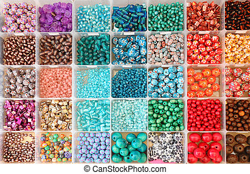 Bead box - Large collection of colourful beads in boxes