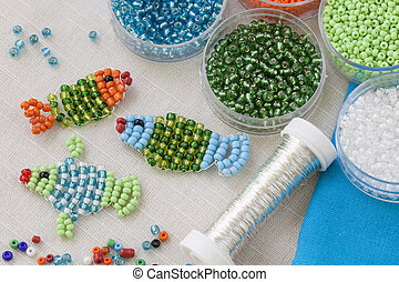 Bead craft - Beaded fishes and colorful beads