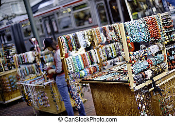 Bead Stand - Street stand selling bead, naclaces and...