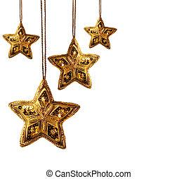 beaded, branca, estrelas, isolado, ouro