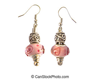 Beads and gems earrings isolated in white