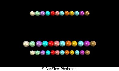 Beads animation, multicolored beads moving in rows on black...