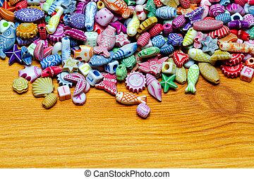 Beads at wood