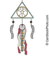 beads, griber, fjer, lavede, blomster, drøm