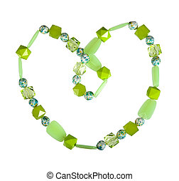 Beads of green glass on a white background