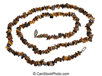 Beads of tiger's eye, isolated