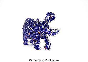 Beadwork Hippopotamus against white background