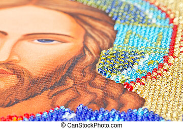 beadwork - icon closeup colorful embroidery with beads