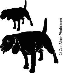 Beagle. Dog beagle. cartoon illustration of a beagle dog. Vector image of an dog beagle on white background