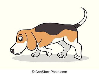 Beagle Dog Cartoon - Vector cartoon illustration of a beagle...