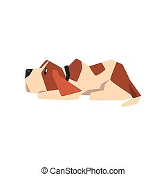 Beagle dog lying on the floor, cute funny animal cartoon character vector Illustration on a white background