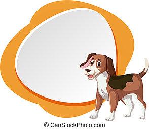 Beagle dog on blank banner