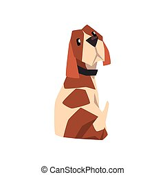 Beagle dog sitting and looking back, cute funny animal cartoon character vector Illustration on a white background