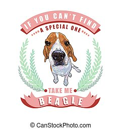Beagle dog sitting in frame ,leaves and ribbon with text on white background