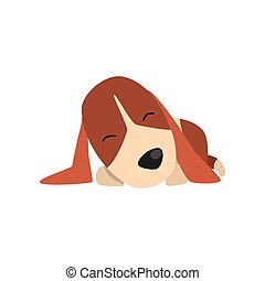 Beagle dog sleeping, cute funny animal cartoon character vector Illustration on a white background