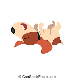 Beagle dog sleeping on his back, cute funny animal cartoon character vector Illustration on a white background