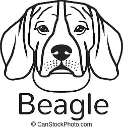 Beagle dog. Vector black icon illustration