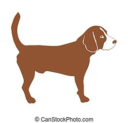 beagle dog, vector silhouette