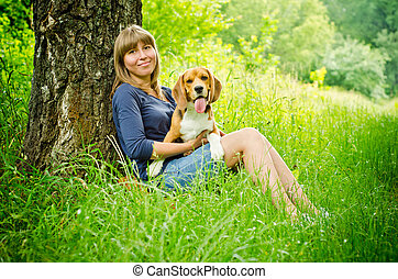 beagle, frau