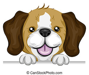 Beagle Holding edge of a Board with Clipping Path