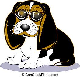 beagle, kunst, hund, klammer, karikatur