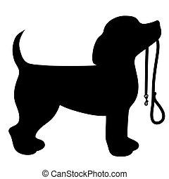 Beagle Leash - A cartoon black silhouette of a Beagle with a...