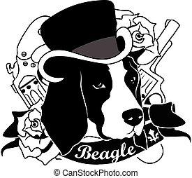 Beagle Portrait. Isolated Vector Illustration - Beagle...
