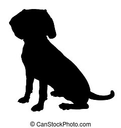 Beagle Silhouette - A black silhouette of a sitting Beagle ...