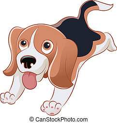 Beagle - Vector image of an cartoon smiling beagle
