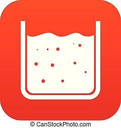 Beaker filled with liquid icon digital red