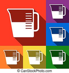 Beaker sign. Vector. Set of icons with flat shadows at red, orange, yellow, green, blue and violet background.