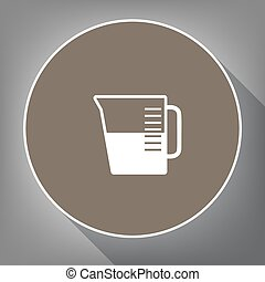 Beaker sign. Vector. White icon on brown circle with white contour and long shadow at gray background. Like top view on postament.