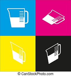 Beaker sign. Vector. White icon with isometric projections on cyan, magenta, yellow and black backgrounds.