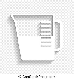 Beaker sign. Vector. White icon with soft shadow on transparent background.